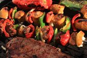 Barbecue Shish Kabob And Steak