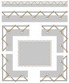 image of grommets  - Seamless border and corners to create a banner with grommet cord stretched on the frame - JPG