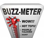 A thermometer marked Buzz-Meter measures the popularity of a current fad, person, event or other mod