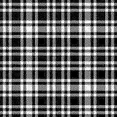 Black And White Tartan Seamless Vector Pattern. Checkered Plaid Texture. poster