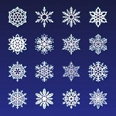 Separate Snowflakes Doodles Vector Rustic Christmas Clipart New Year Snow Crystal Illustration In Fl poster