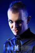 picture of skinhead  - Shot of a gloomy skinhead man - JPG