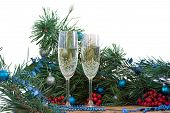Christmas And New Year Still Life, Champaign Glasses, Pine, Ornament poster