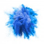 Paint powder explosion or abstract color splash of blue particles burst isolated on white background poster