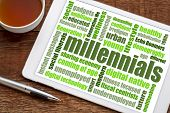 millennials generation word cloud on a digital tablet with a cup of coffee - demography concept poster