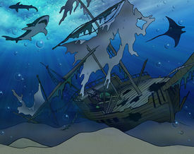 image of pirate ship  - An old shipwreck on a shallow ocean floor with sharks mantaray - JPG