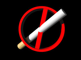 pic of marlboro  - No smoking sign with 3D cigarette and black background - JPG