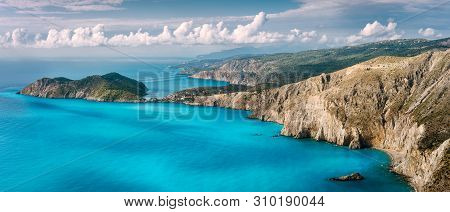 poster of Panorama Scenery View Of Assos Peninsula And Coastline In Kefalonia Greece. Turquoise Calm Mediterra