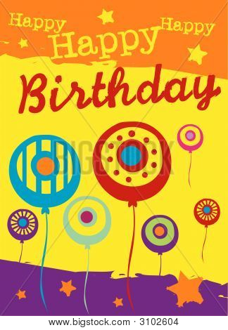 poster of Birthday Card With Balloons