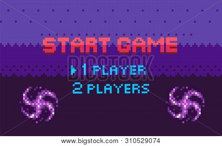 poster of Start Game, Choose Player, Space Pixel Game In Purple Color Decorated By Stars, Screen Of War Video-