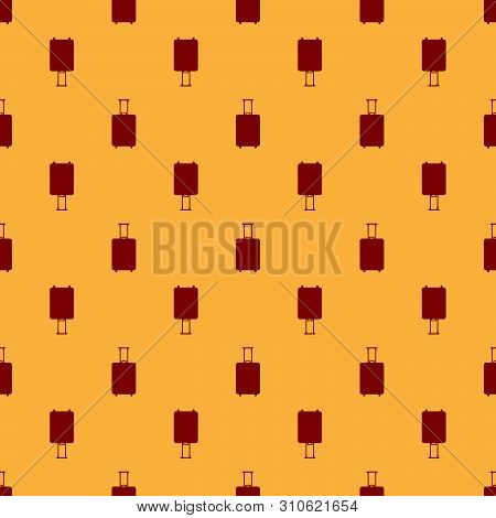 poster of Red Travel Suitcase Icon Isolated Seamless Pattern On Brown Background. Traveling Baggage Sign. Trav