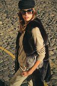 Fall Fashion Accessory. Enjoy Fall Season. Woman Enjoy Sunny Day Outdoors. Fall Outfit. Modern Casua poster