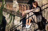 Enjoy Warmth. Woman Enjoy Sunny Day Outdoors. Fall Outfit. Modern Fashion Outfit. Autumn Season. Pre poster