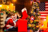 Family Having Fun At Home Christmas Tree. Family Holiday. Happy Family. Mom And Kid Play Together Ch poster