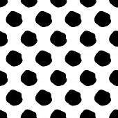 Abstract Spot Pattern With Hand Drawn Spots. Funny Vector Black And White Spot Pattern. Seamless Mon poster