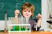 Kid Study Chemistry. Biotechnology And Pharmacy. Genius Pupil. Chemical Analysis. Science Concept. W poster