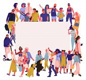 Trendy People Banner. Crowd Of Happy Men And Women With Blank Placard, Diverse Multicultural Society poster