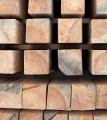Wooden Beams. Planks. Air-drying Timber Stack. Wood Air Drying (seasoning Lumber Or Wood Seasoning). poster