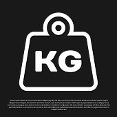 Black Weight Icon Isolated On Black Background. Kilogram Weight Block For Weight Lifting And Scale.  poster