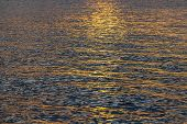 Sunset Water Background, Surface Water In The Sunset Time, Thailand. Nature Concept. Golden Sunset T poster