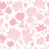 Magnolia Pink Flowers Seamless Vector Pattern, Bouquets In Blossom. Beautiful Home Decor And Interio poster