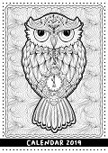 Christmas Owl, Calendar Cover Design For 2019 Year. Black And White Mono Linear Coloring Book Page.  poster