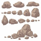 Rock Stone. Isometric Rocks And Stones, Geological Granite Massive Boulders. Cobbles For Mountain Ga poster