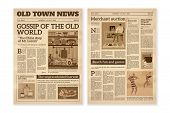 Retro Newspaper. Daily News Articles Yellow Newsprint Old Magazine. Media Newspaper Pages. Vintage P poster
