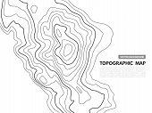 Contour Line Map. Topographical Relief Outline, Cartography Texture Geographic World Mapping Grid Te poster