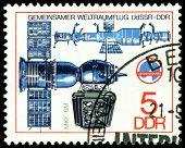 Vintage  Postage Stamp. Soyuz Camera And  Spase Complex.