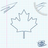 Canadian Maple Leaf Line Sketch Icon Isolated On White Background. Canada Symbol Maple Leaf. Vector  poster