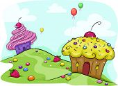 Illustration Featuring a Land Full of Cupcakes and Candies