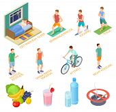 Healthy Lifestyle Isometric Concept. Regular Exercises, Medical Checking Diet Nutrition. Good Habits poster
