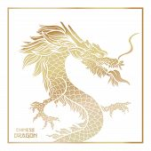 Chinese Mythic Dragon Poster Template. Legendary Oriental Mythological Creature On White Background. poster