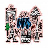Cartoon Map Of Paris Vector Illustration. Printable Art For Textile, Souvenirs, Picture For Website, poster