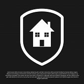 Black House Under Protection Icon Isolated On Black Background. Home And Shield. Protection, Safety, poster