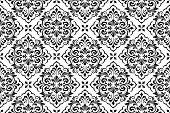 Floral Pattern. Vintage Wallpaper In The Baroque Style. Seamless Background. White And Black Ornamen poster