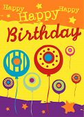 picture of happy birthday card  - Vector birthday card with abstract party balloons - JPG