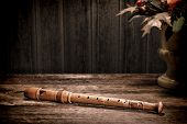 Old Wood Recorder Flute Ancient Musical Instrument