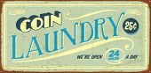 Vintage tin sign - Coin Laundry - Vector EPS10. Vector EPS10. Grunge effects can be easily removed.