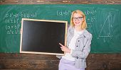 School Information For Incoming Students. Teacher Show School Advertisement. Teacher Woman Hold Blac poster