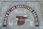 Kilometre Zero Point In Puerta Del Sol, Madrid, Spain