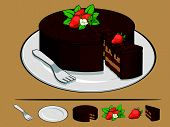 Chocolate Cake With Strawberry On Plate