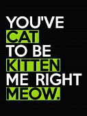 You`ve Cat To Be Kitten Me Right Meow - Quote Isolated On The Black Background. Fun Inscription For  poster