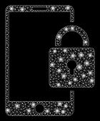 Bright Mesh Lock Smartphone With Glow Effect. Abstract Illuminated Model Of Lock Smartphone Icon. Sh poster