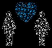 Glowing Mesh Lesbi Love Pair With Glow Effect. Abstract Illuminated Model Of Lesbi Love Pair Icon. S poster
