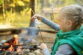 Adorable Young Girl Roasting Marshmallows On Stick At Bonfire. Child Having Fun At Camp Fire. Campin poster