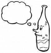 cartoon snooty wine bottle