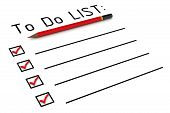 To Do List. Red Pencil And Blank The To Do List With Red Marks. Isolated. 3d Illustration poster
