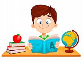 Back To School. Cute Boy Sitting At The Table And Reading Abc Book. Funny Cartoon Character. Vector  poster